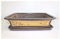 Bonsai Pot, Rectangle, 40cm, Brown, Unglazed, Motif, Saucer